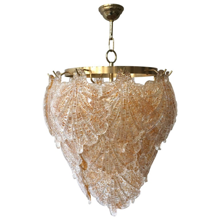 Three Brass and Murano Glass Chandeliers For Sale
