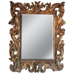 18th Century Italian Giltwood Carved Mirror