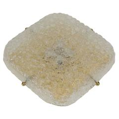 Large Square Hillebrand Bubble Textured Glass and Brass Flush Mount