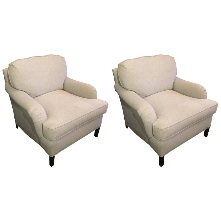 George Smith Style Pair Of Classic Club Chairs 1