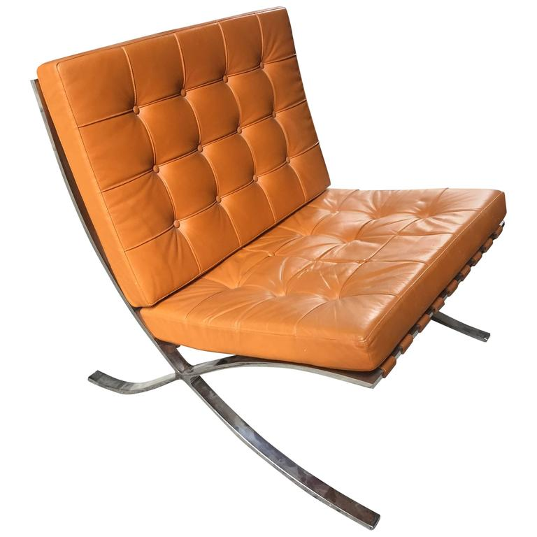 Delicieux Butterscotch Leather Knoll Barcelona Chair For Sale