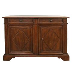 Tuscan 18th Century Solid Walnut Wood Credenza with Two Drawers and Two Doors