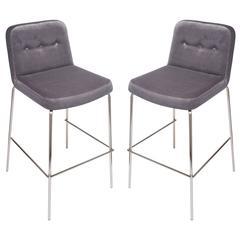 Pair of Luxe Upholstered Bar Stools in Grey Velvet and Chrome