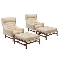 Ammannati & Vitelli, Pair of Italian Walnut Upholstered Armchairs with Ottomans