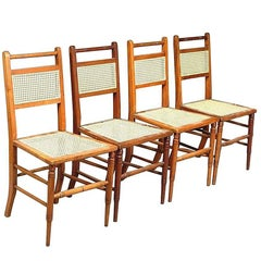 Set of Four Anglo-Japanese Cane Seat Chairs, Attributed to E. W. Godwin