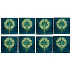 Pilkington's Lancastrian Tile Works. Ten Arts & Crafts six inch tube-lined tiles