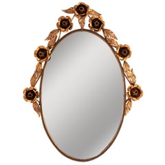 Spanish 1960s Metal Coppered Floral Oval Mirror