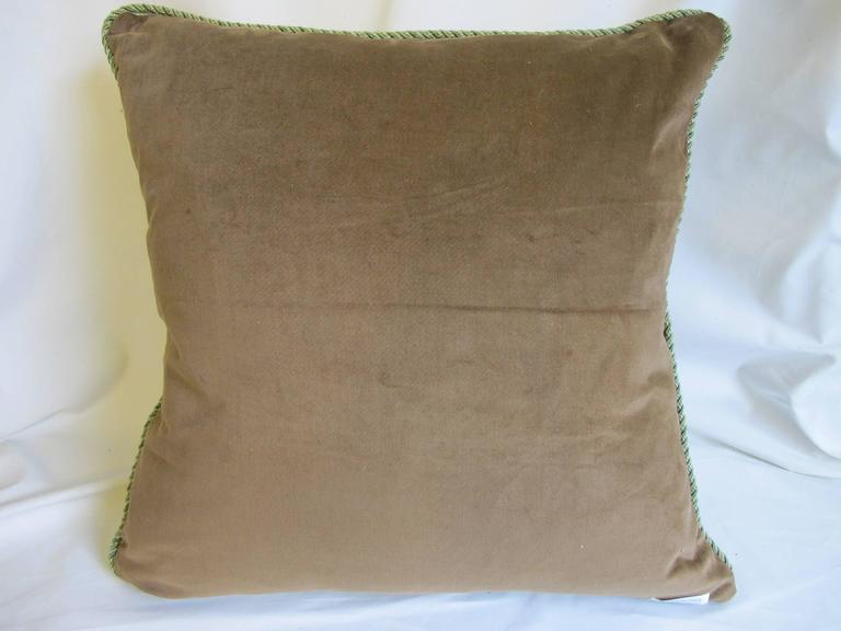 French Embroidered Damask Pillow by Mary Jane McCarty For Sale