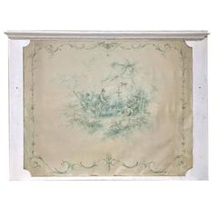 19th Century French Chinoiserie Wallpaper Panel on Painted Mount
