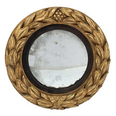 Gilt Convex Mirror from the Regency Era (Diameter 19 1/2)