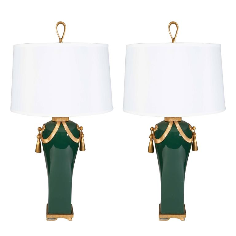 Pair of 1940s Hollywood Regency Brass and Ceramic Table Lamp