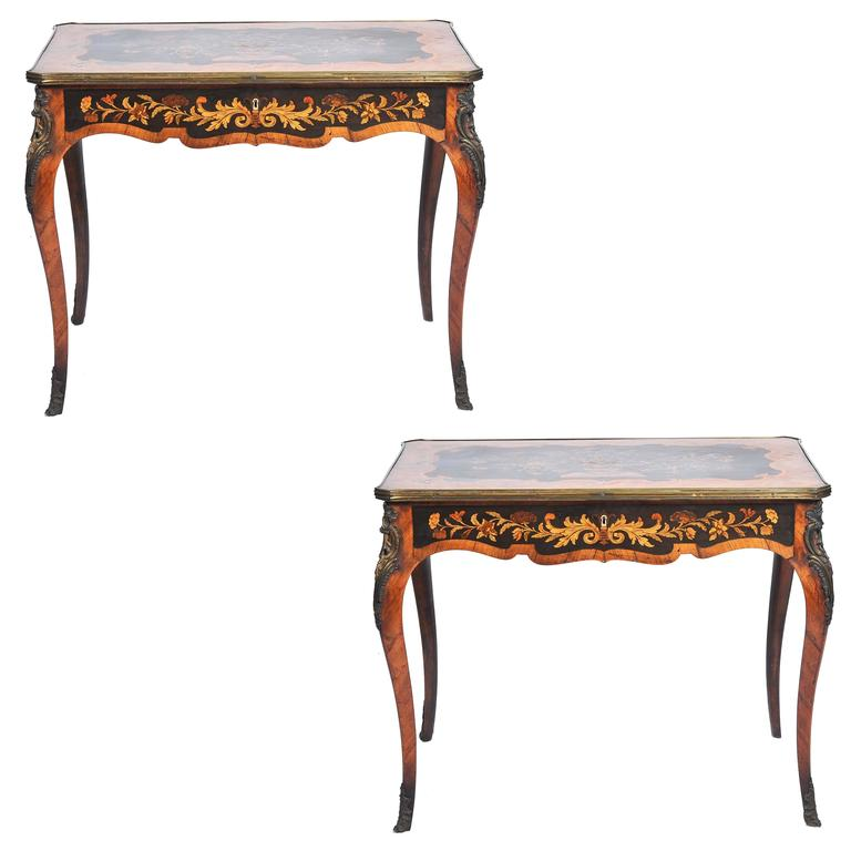 Pair of 19th Century Marquetry Side Tables