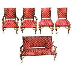 French Empire Parlour Set of Five-Piece Ormolu Bronze Armchairs Couch Settee