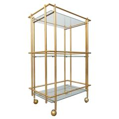 Mid-Century Modern Three-Tier Brass and Glass Bar Service Cart Trolley