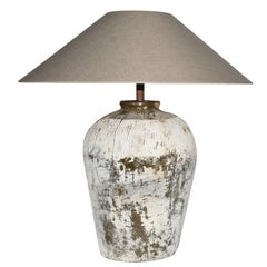 Large Rustic Chinese Jar Lamp with Shade