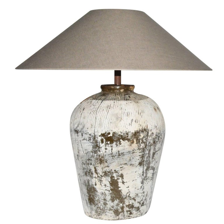 Large Rustic Chinese Jar Lamps with Shade