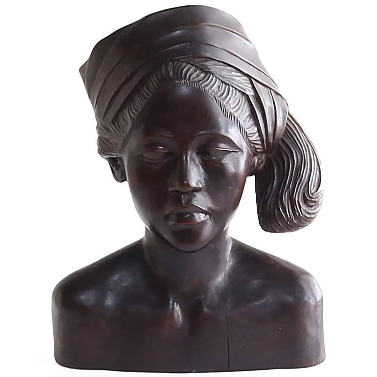 Beautiful Carved Mahogany Bust of Balinese Woman Wearing Headscarf