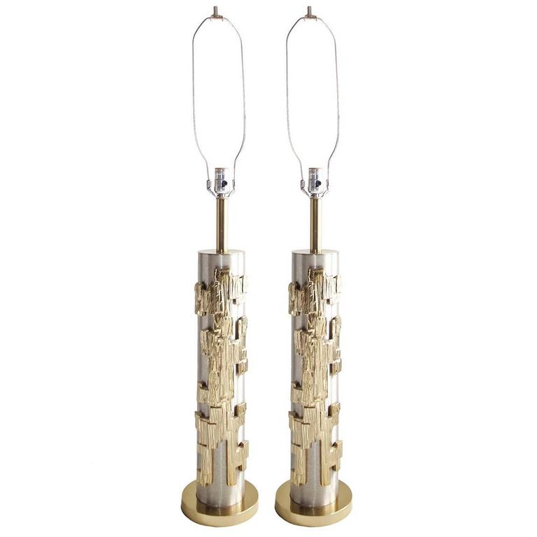 Pair of Brutalist Style Mid-Century Lamps, Laurel Co. in Gold and Brushed Silver