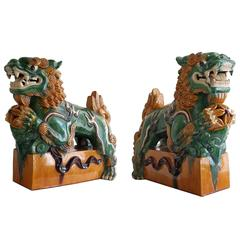 Pair of Oversize Chinese Sancai Glazed Food Dogs on Pedestals