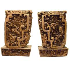 Pair of Qing Dynasty Architecture Carving Panels