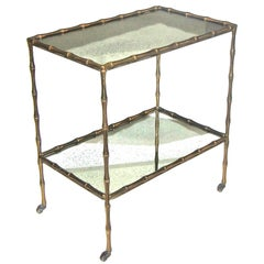 Bagues Faux Bamboo Bronze Two-Tier Side Table or Bar Cart