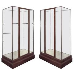 Pair of Tall Wooden Showcases or Vitrines, circa 1900