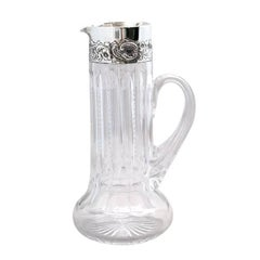 """Sterling Silver-Mounted  """"Zipper-Cut"""" Crystal Pitcher"""