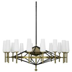 Uno & Osten Kristiansson Rare and Big Ceiling Lamp by Luxus in Sweden
