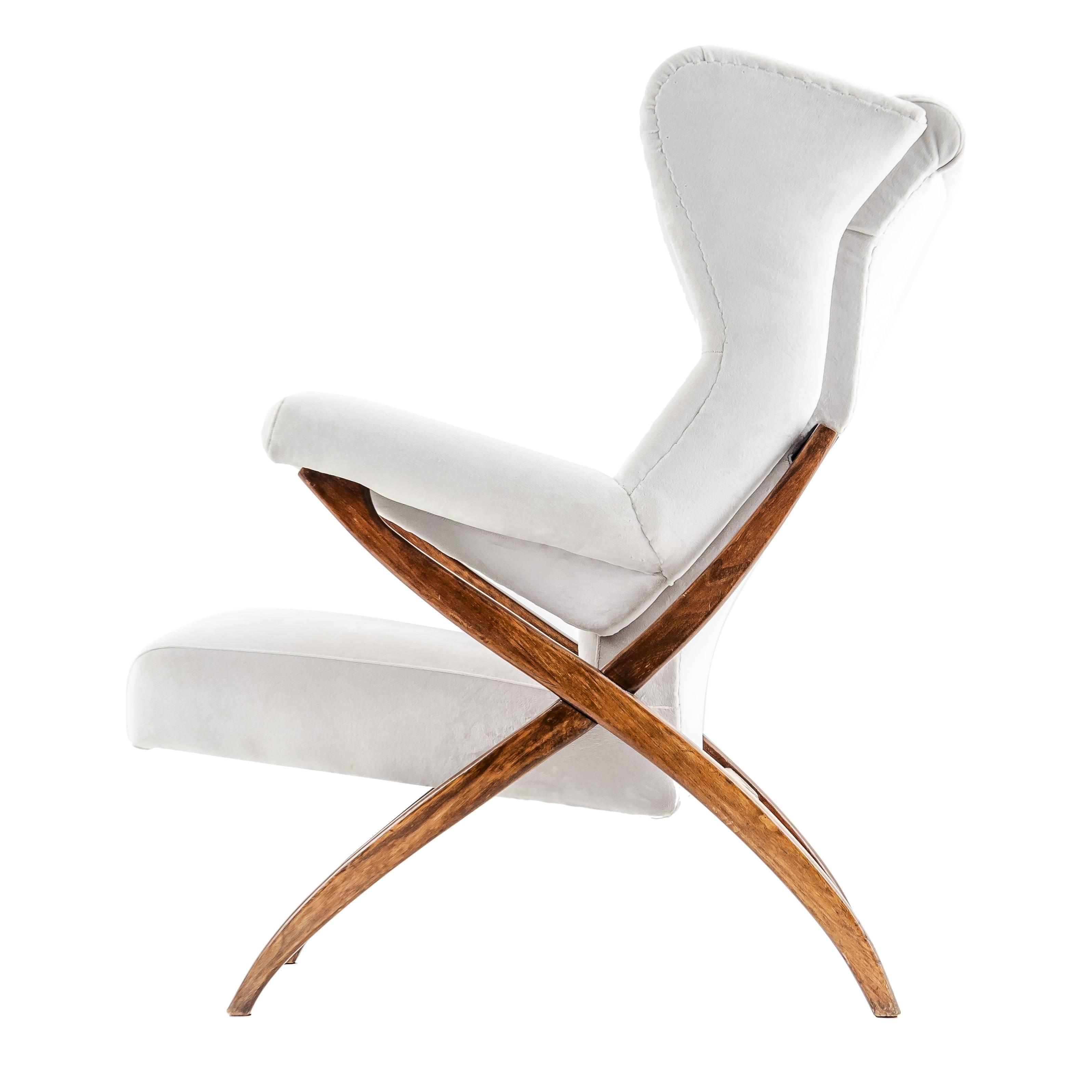 "Franco Albini Mid-century Italian Armchair Model ""Fiorenza"" walnut cream fabric"