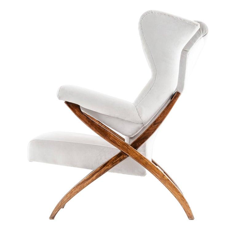 "Franco Albini Mid-century Italian Armchair Model ""Fiorenza"" walnut cream fabric For Sale"