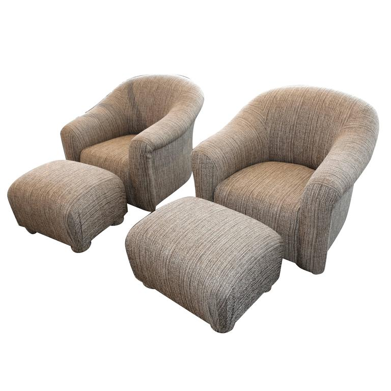 Pair of Comfortable Swivel A. Rudin Chairs and matching ottomans For Sale  sc 1 st  1stDibs & Pair of Comfortable Swivel A. Rudin Chairs and matching ottomans For ...