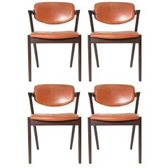 Four Kai Kristiansen Cognac Leather and Mahogany 'Z' Dining Chairs