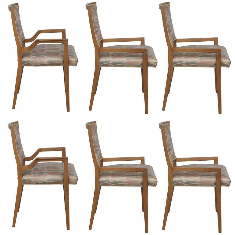 Set of Six Elegant Mid-Century Modern Armchairs and Chairs