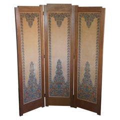 Dutch Arts and Crafts Folding Screen with Batik Printed Felt on Wooden Panels