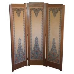 Art Deco Amsterdam School Folding Screen with Batik Printed Felt on Wood Panels