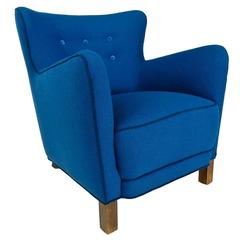 Mid-Century Fritz Hansen Armchair in Blue Wool, Danish, 1940s