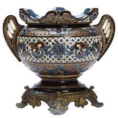 Antique Wilhelm Schiller Majolica Planter, 19th Century