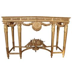 Pair of Louis XVI Style Giltwood Consoles