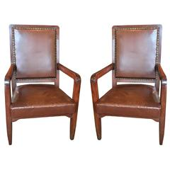 Pair of French Deco Leather Library Chairs