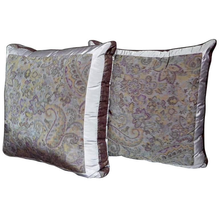Pair of Amethyst Silk Taffeta Pillows