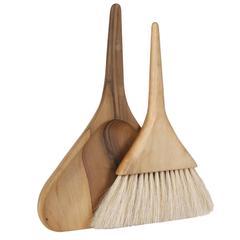 Original Mid-Century Carl Aubock Walnut Brush and Dustbin