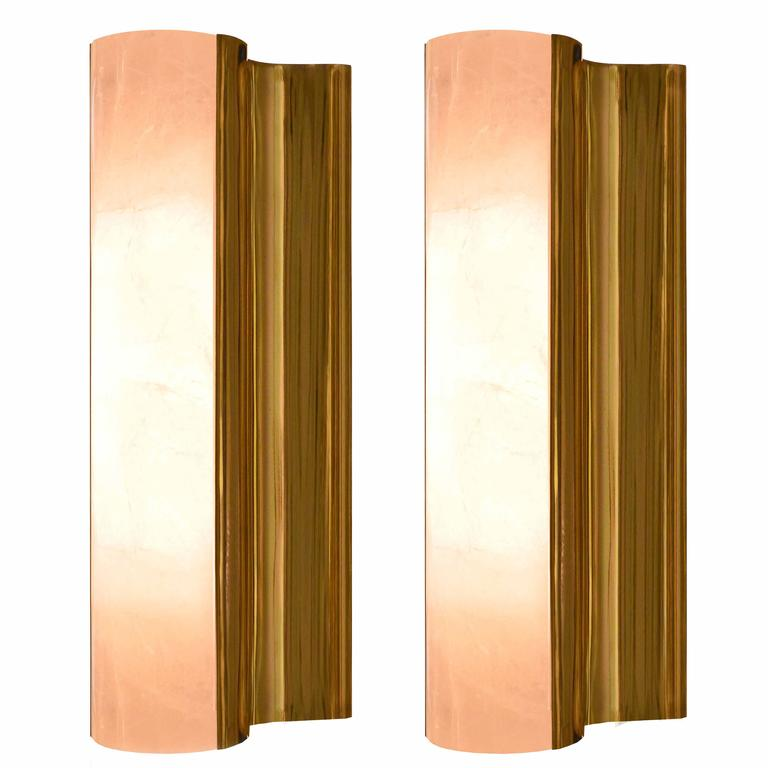 Pair of Modern Rock Crystal Quartz Wall Sconces