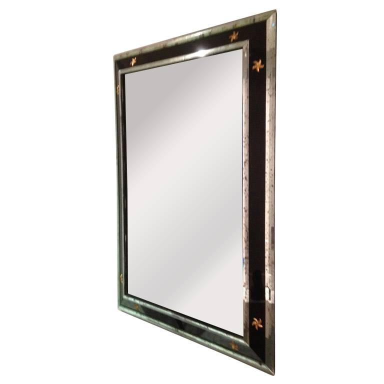 1960s vintage black and silver venetian mirror with stars for Black venetian mirror