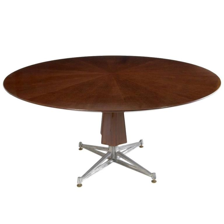 Sculptural Pedestal Mahogany Table with Cast Aluminium Base, 1950s For Sale