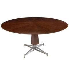 Sculptural Pedestal Mahogany Table with Cast Aluminium Base, 1950s