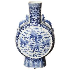 19th Century Chinese, Blue and White Moon Flask