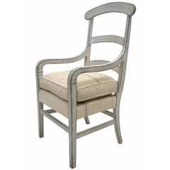 19th Century French Ladder Back Painted Wood Arm Chair with Linen Cushion