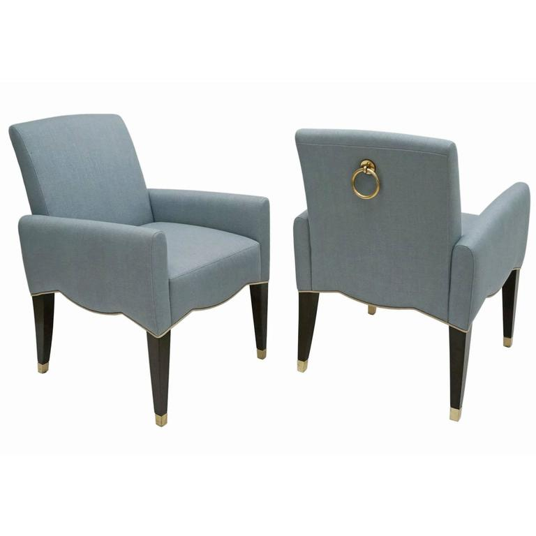 Pair of Blue Cafe Marly Chairs with Large Brass Ring on Back by Olivier Gagnère