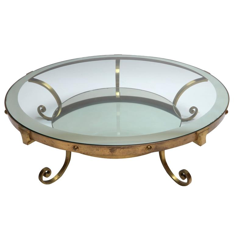 1950s mexican round brass coffee table with mirrored glass at 1stdibs. Black Bedroom Furniture Sets. Home Design Ideas