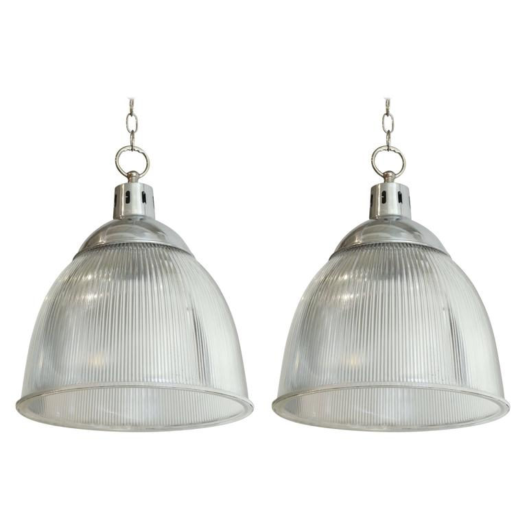 Pair of 1940s English Halophane and Aluminium Pendant Light Fixtures